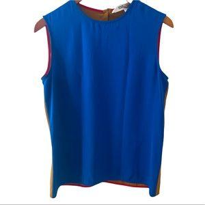 Diane Von Furstenberg Blue Brown silk tank top